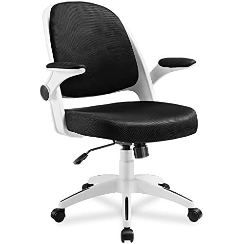 ComHoma Office Chair, Desk Chair with Flip-up Arms and Adjustable Height, Ergonomic Office Chair Back Cushion Removable, Computer Chair Mid Back White