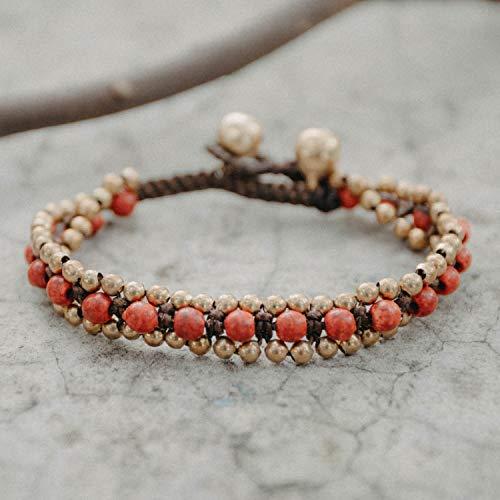 Changnoi Coral Brass Bead Bracelet, Handcrafted Women Bracelet, Fair Trade Bracelet, Gift for her