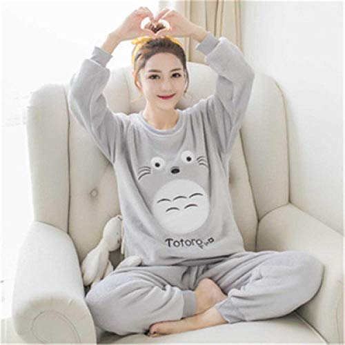 Wenhua Pajamas Woman, Pijamas Femeninos de Dibujos Animados en otoño e Invierno, Mi Vecino Totoro-L, Fashion Pijama de Mujer Conjunto de Dos Piezas Ropa de Dormir