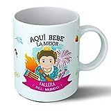 Planetacase Taza Desayuno Aquí Bebe la Mejor fallera del Mundo Regalo Original fallas Valencia Ceramica 330 mL