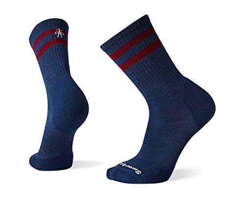 Smartwool Men's Athletic Stripe Crew Light Elite Merino Wool Socks, Alpine Blue, Extra Large