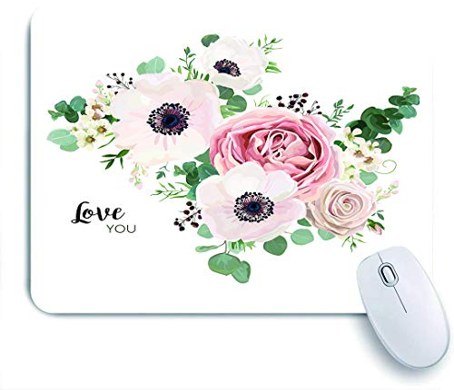 Dekoratives Gaming-Mauspad,Gartenblume Lavendel rosa Pfirsich Rose weiß Anemonenwachs grün Eukalyptus,Bürocomputer-Mausmatte mit rutschfester Gummibasis