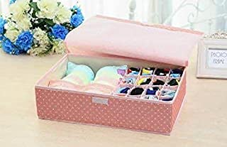 House of Quirk Innerwear Organizer 15+1 Compartment Non-Smell Non Woven Foldable Fabric Storage Box for Closet - Pink(Polka)