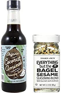 TJ's Coconut Amino's Seasoning Sauce 8.5 ounce Bottle & Everything but the Bagel Sesame Seasoning Blend Bundle