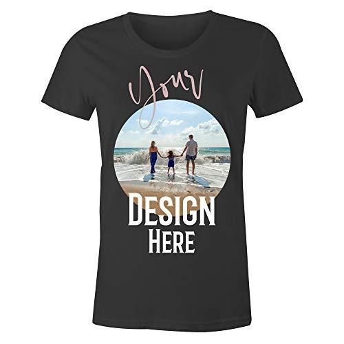 Frau T-Shirt mit Eigenem Foto Text Logo Name Selbst Gestalten - Ringgesponnene Baumwolle - Vollfarbiger Druck - L |Schwarz|