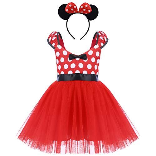 IWEMEK Princesa Disfraz de Minnie para Bebé Niña Navidad de los Lunares del Vestido del Tutú de Tul Cumpleaños Fantasía Infantiles Vestido Carnaval Bautizo Ballet Baile con Diadema 3-4 Años