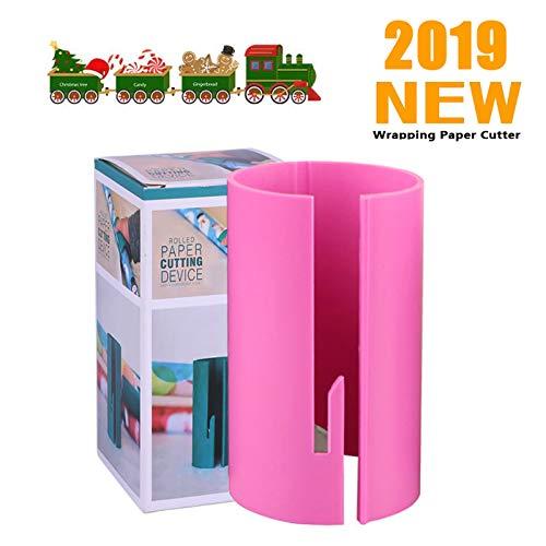 Wrapping Paper Cutter Kraft Craft Paper Roll Sliding Line Cut Trimmer Creative Sliding Paper Roll Cutter (Pinks)
