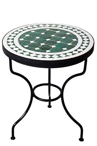 ORIGINAL Marokkanischer Mosaiktisch Beistelltisch ø 40cm rund | Runder Mosaik Gartentisch Mediterran | Handarbeit aus Marokko als Blumentisch für Balkon oder Garten | Marrakesch Grün Weiß 40cm