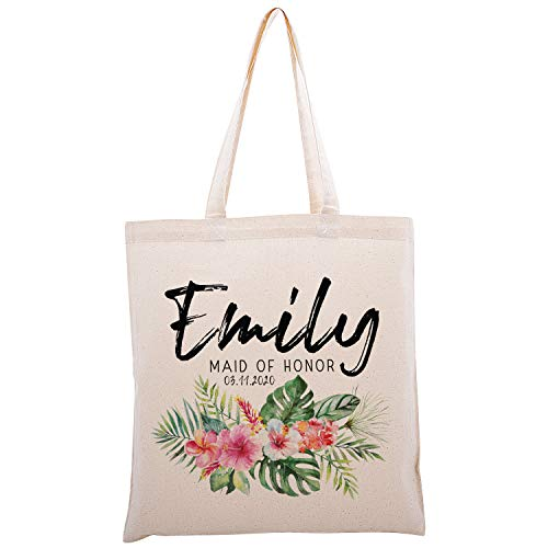Personalized Printed Cotton Canvas Tote Bag | Custom Handbag Gift for Events | Wedding Bachelorette Baby Shower Birthday Party Christmas Bridesmaid | Tropical Flowers | C1D09 | Single