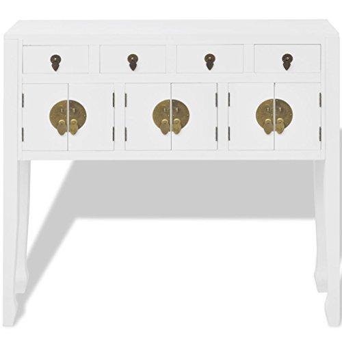 Festnight Massivholz Sideboard Highboard Konsolentisch Seitenschrank in chinesischem Stil mit 4 Schubladen und 3 Schränken 95 x 24 x 91 cm Weiß