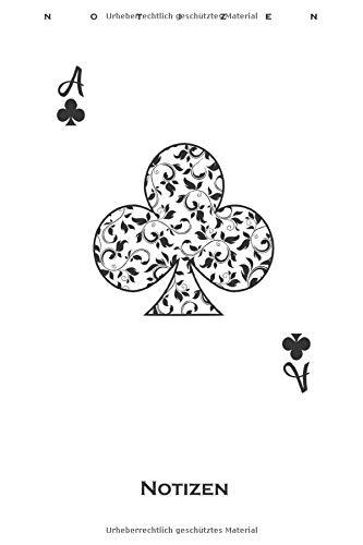 Poker Spielkarte Kreuz Ass Notizbuch: Liniertes Notizbuch für Freunde des strategischen Kartenspiels