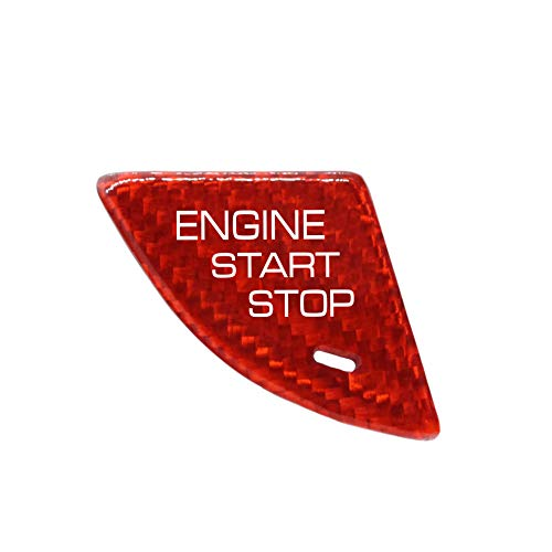 Red for Cadillac ATS ATS-L Real Carbon Fiber Ignition Engine Start Stop Buttons Cover Trim