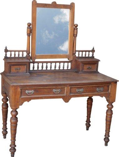 Guru-Shop Kaptafel met 2 Laden en Spiegel (JH3-DC050), Bruin, Hout, 151x115x54 cm, Eettafels Keukentafels
