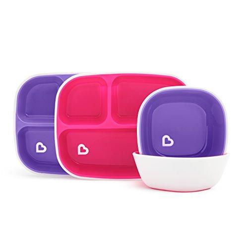 Munchkin Splash 4 piezas para su niño que incluye un plato divisorio y bol como set de cena, rosa/morado