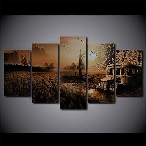 FCFLXJ 5 Leinwandbilder Für Poster Sonnenuntergang Landschaft Sumpf 59*39 Zoll Dekoration Gemälde Kunstdrucke Auf Leinwand Büro Wohnung Kunstdrucke Auf Leinwand Groß Foto...