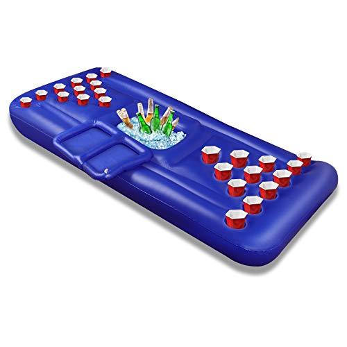 Bier Pong Pool Spiele Aufblasbare Schwimmende BierPong Tisch für Sommerparty Pool Float, Kühler, Pool Party Lounge Floß für Erwachsene - 24 Getränkehalter