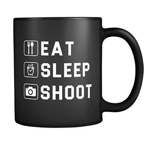 Eat Sleep Shoot Coffee Mug 11oz in Black - Photographer Gift
