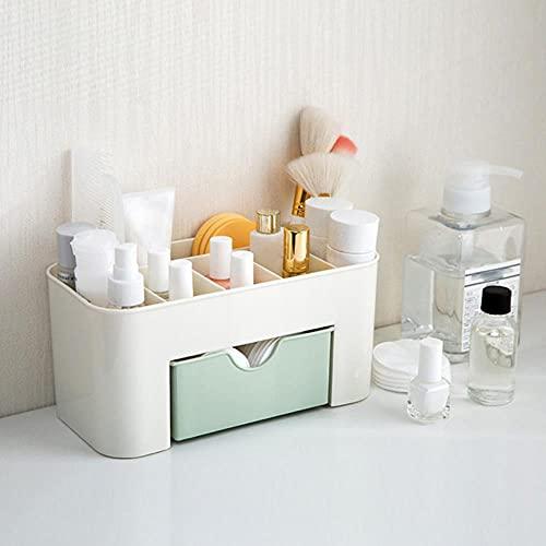 Ahorro de espacio Estuche de almacenamiento de cepillo cosmético de escritorio con cajón Artículo de maquillaje Bolígrafos Caja de organización de escritorio Organizadores de soporte de plástico-Verde