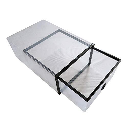 SHZICMY 20 cajas de cartón para zapatos de plástico transparente, almacenamiento de libros, caja multiusos para hombres y mujeres, caja de cartón fuerte