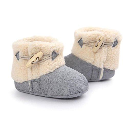 MIYA Super Süß Baby Lammfell Stiefel, rutschfeste Lauflernschuhe, warm Winter Plüschschuhe, weich, warm und schön, 6~12 Monate,Grau/weinrot/beige (Grau)