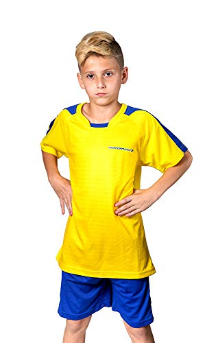 PAIRFORMANCE Premium Soccer Uniforms for Kids, Sizes 4-12, Boys and Girls Sports Activewear Color Shirts and Shorts (Yellow, Large)