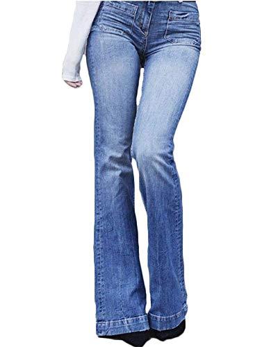 Laisla fashion Señoras Ocasionales De Cintura Alta Vaqueros Pantalones Clásico Acampanados Slim Kick Flare Bootcut Pantalones Moda 2020 Ropa De Mujer (Color, Size : M)