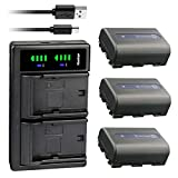 Kastar 3-Pack NP-FM50 Battery and LTD2 USB Charger Replacement for Sony HDR-SR1, HDR-UX1, MVC-CD200, MVC-CD250, MVC-CD300, MVC-CD350, MVC-CD400, MVC-CD500, DSR-PDX10, HVL-ML20M, HVR-A1 HVR-A1U Camera