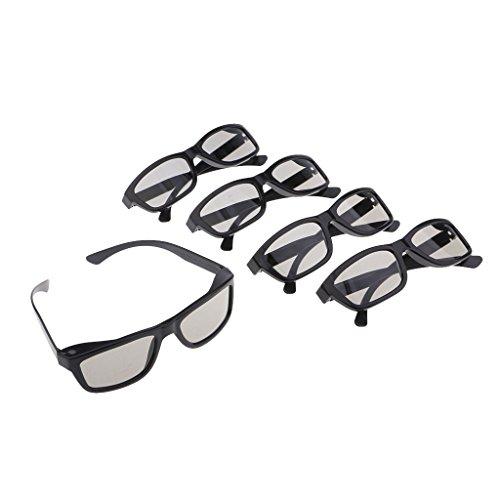 Gazechimp 5X Gafas 3D Pasivas, para LG, para Panasonic, Vizio Y Todos Los Televisores 3D Pasivos Y Gafas RealD 3D Cinema - Negro