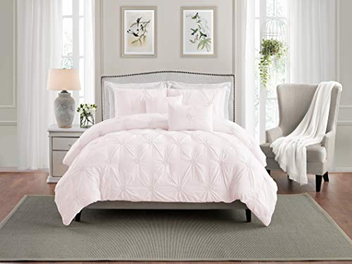 Swift Home Premium Bedding Set Collection 3-Piece Floral Ruched Pinch Pleat Pintuck Comforter Set - Full/Queen, Rose Blush