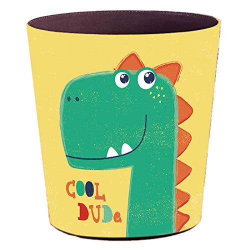 Batop Papierkorb Kinder, 10L PU Leder Wasserdicht Papierkorb mit Dinosaurier Motiv Mülleimer Dekorativ Papierkorb für Kinderzimmer Mädchen Junge