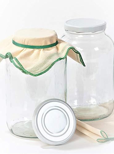 myFERMENTS Große Kristall-Fermentiergläser mit Deckel - 2 Weithals-Gläser, 50x50cm-Musselintücher & Gummibänder - Luftdicht, für Kombucha, Kefir, Marmelade, Einmach-Gerichte - Fermentation-Set