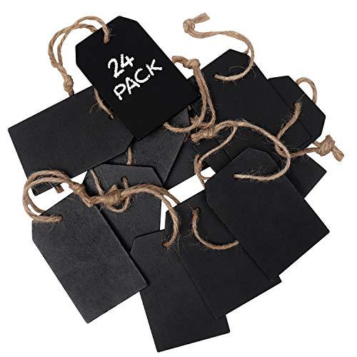 Mini Kreidetafel Schilder (24 Stück) - 8 x 5 cm Doppelseitige Kreidetafel Schilder für Nachrichten, Hochzeit Tischnummer, Essensbeschilder, Geschenke, Event Deko, Preisschilder und Geschenkanhänger