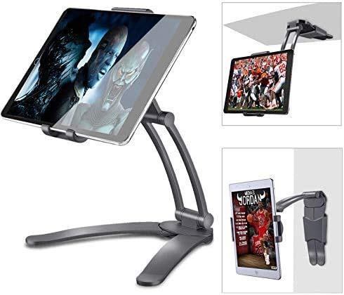 Kitchen Tablet Mount Stand, Adjustable Kitchen Desktop Pull-Up Lazy Bracket, 2-in-1 Kitchen Wall Mount Countertop Rotating Aluminum Holder Stand Compatible with 5-13' Width i-Pad Phone,Black