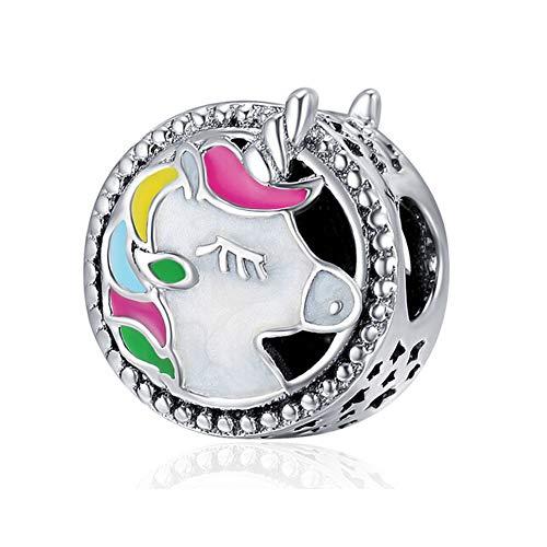 Abalorio de plata de ley 925 con diseño de unicornio para pulsera Pandora A
