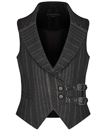 Punk Rave Chaleco steampunk para hombre, diseño de rayas, color negro, marrón, gótico vintage, victoriano
