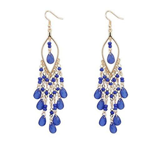 VJGOAL Damen Ohrringe, Frauen Mädchen Reifen Mode Trend Böhmen Übertrieben Mode Perlen Quaste Ohrringe