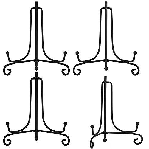 Hetoco Metalen bordenhouder, ijzer, schildersezel, display voor schotel, borden, kunst, fotolijst 4 Zoll (4 Stück) zwart