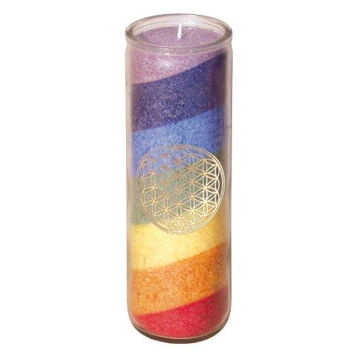 7 Chakra Regenbogen-Kerze Glaskerze mit goldenem Aufkleber der Blume des Lebens