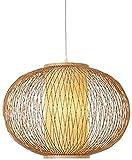 Waqihreu Iluminación de Tambor de Madera de Estilo japonés Bambú Tejido a Mano Lámparas de bambú Lámparas Colgantes Iluminación primitiva Lámpara de Techo Colgante China 50cm
