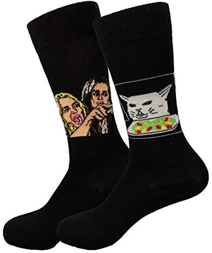 Balanced Co. Woman Yelling at Cat Meme Dress Socks Funny Socks Crazy Socks Casual Cotton Socks (Black)