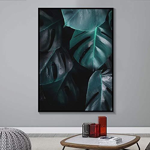 N / A Natürliche Tropische Tropische Palmblatt Monstera Wandkunst Leinwand Malerei Plakate und Drucke Wohnzimmer Wandbilder Rahmenlos 75x100cm