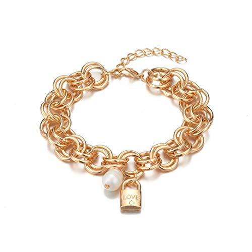 ZSDFW Pulsera ancha con cierre de amor, cadena de perlas artificiales, pulsera para mujeres, niñas, accesorios de regalo