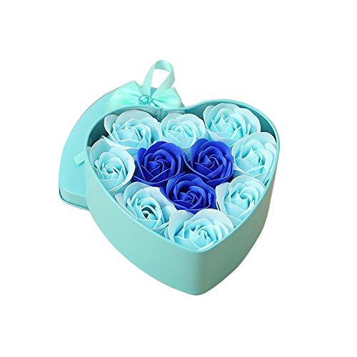 Floral Savon Bain Pétales de Rose, 11 Huile Essentielle Rose Savon Set Savon Invité en Forme de Pétales (Color : Blue)