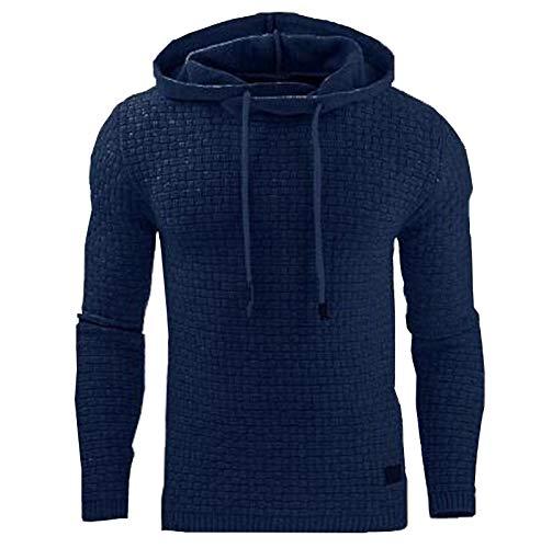 Fall/Winter Men's Long-Sleeved Hoodie Jacquard Sweater Sweatshirt Jacket Navy Blue