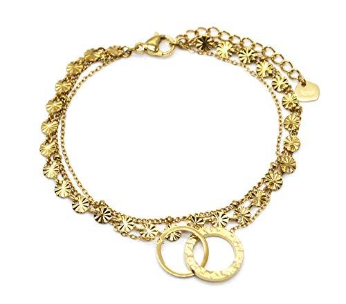 Oh My Shop BC4270 – Pulsera triple cadena medallas, rayas, bolas y círculos entrelazados, acero dorado