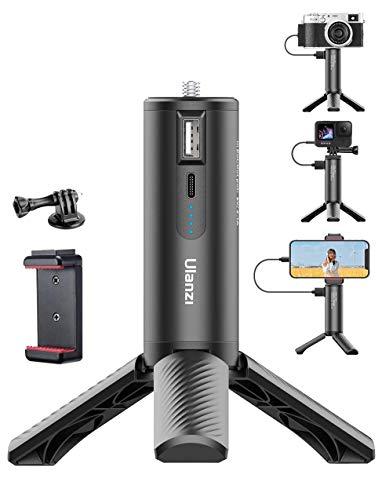 Small Tripod for iPhone Gopro Camera - 5000mAh Battery Handle Grip, BG-4 Smartphone Selfie Stick Desk Table Tripod Filmmaking Vlog Powerstick Power Bank for DSLR Hero 5 6 7 8 9 Canon ZV1
