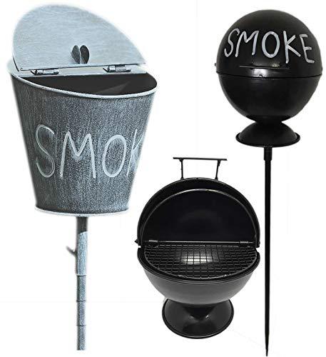 LS-LebenStil Stand-Aschenbecher Sturmaschenbecher Windaschenbecher Ashtray Smoke Schwarz Weiß Gartenstab 65-115cm hoch