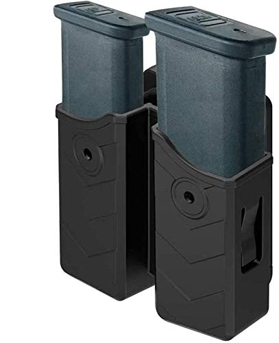 HQDA Universal Double Magazine Pouch 9mm .40 Mag Holder Dual Stack Mag Holster Fits Glock 17 19 23 43 Duty Belt OWB Handgun Mag Holder for Taurus CZ S&W Sig Sauer Beretta H&K Colt Browning Ruger CANIK