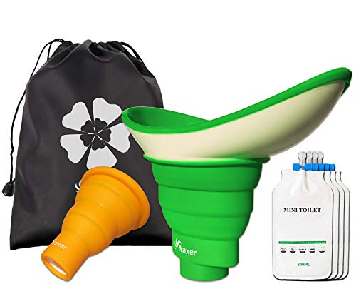 NAXER Female Urinal for Women with 4 Travel Disposable Urinal Bags Shrinkable Male and Female Urination Device Set Portable Urinal Pee Funnel Outdoor Essential Gear for Camping Hiking Car Boat Trip