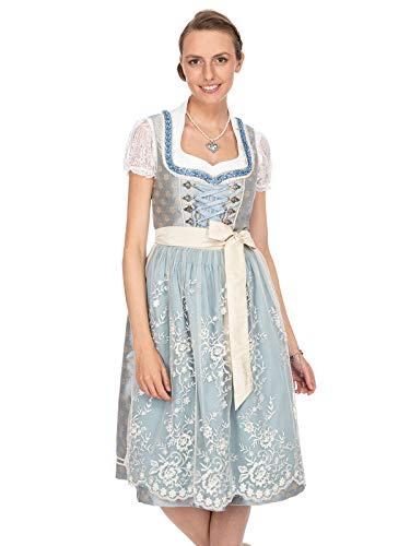 Stockerpoint Damen Lana Dirndl, Mehrfarbig (Hellblau-Creme Hellblau-Creme), (Herstellergröße: 42)